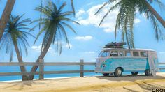 A vida é sonhar, praia, céu azul, kombi e surf...