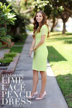 Lime Lace Pencil Dress Sewing Tutorial   Merrick's Art