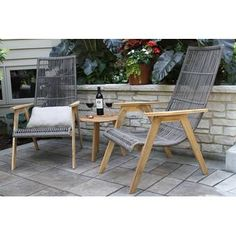 Mistana Largent Teak Patio Chair with Cushions and Ottoman Outdoor Sofa Sets, Outdoor Lounge, Outdoor Furniture Sets, Outdoor Decor, Kids Furniture, Outdoor Spaces, Outdoor Patios, Porch Furniture, Urban Furniture