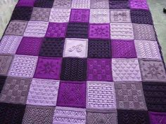 Ideas Knitting Blanket Squares Patchwork Color Combos For 2019 Knitted Afghans, Knitted Blankets, Quilt Patterns, Knitting Patterns, Square Patterns, Purple Quilts, Patchwork Blanket, Purple Home, All Things Purple