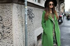 Everyone will be green with envy in this green trench and #DSQUARED2 hat. Could be all yours