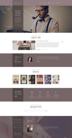 Stylish Writer Responsive Template that will help a writer to start a personal website without wasting extra time and money. Web Design Quotes, Web Design Tips, Web Design Trends, Page Design, Website Layout, Web Layout, Layout Design, Website Ideas, Website Templates
