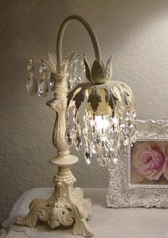 homemade little lamp is really cute, but I LOVE the framed rose! It's simply shabby chic elegance!