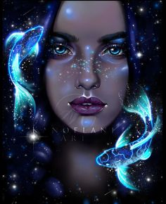 Digital painting done with Galaxy Painting, Galaxy Art, Cartoon Kunst, Cartoon Art, Digital Art Beginner, Digital Art Tutorial, Digital Art Girl, Zodiac Art, Fantasy Kunst