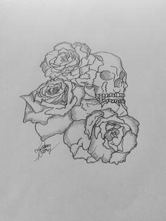 Draw - Caveira e Rosas;  deborassoares19@gmail.com