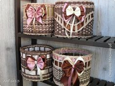 плетеные шкатулки