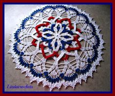 Linda Crochets: Patriotic Rosette Doily - this is beautiful