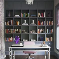 """Northworks Architects on Instagram: """"This home office is making 'taking a snow day' look like a beautiful option @jpinteriorschi #jamesyochumphotography #northworksarchitects"""" Home Office Cabinets, Home Office Storage, Home Design Living Room, Living Room Modern, Home Garden Design, Home Interior Design, Home Studio Desk, Office Built Ins, String Lights In The Bedroom"""