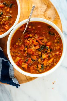 This lentil soup recipe is truly the BEST. It's hearty, fresh and nutritious, and loaded with fresh flavor. With over 500 five-star reviews, this recipe is sure to become your new favorite! #lentilsoup #souprecipe #vegan #vegetarian #glutenfree #cookieandkate