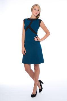Entdecke lässige und festliche Kleider: Kleid Annett, Petrol-Schwarz made  by Costura via