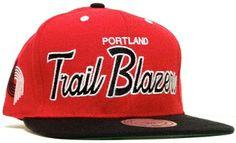 Portland Trailblazers Red SCRIPT Mitchell & Ness SNAPBACK NBA