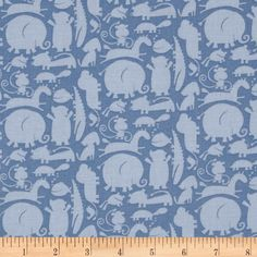 Oh Boy Animal Silhouette Blue - Discount Designer Fabric - Fabric.com
