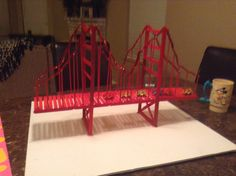 Golden gate bridge DIY. Made of Popsicle sticks