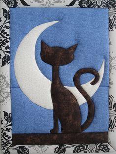 Gato mirando a la luna, falso patchwork