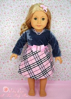"""** RUBY ROSE ** Burberry Style Outfit with Pink Rhinestone Necklace & Bow Tie Hairpin ~ Fits 18"""" American Girl Dolls by *** The RUBY ROSE COLLECTION *** made by USAtoystore, http://www.amazon.com/gp/product/B005UQPAKO/ref=cm_sw_r_pi_alp_PW9uqb1EFFSVR"""