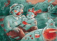 Illustration by Margarita Kukhtina Summer #berrywaterfest #illustration #art #grandpa #gitkadraws