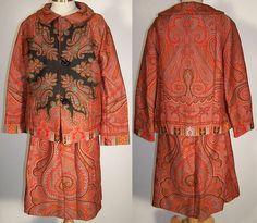 Antique Black Wool Star Paisley Shawl Suit Jacket Skirt Set