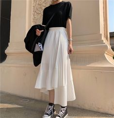 [free ship] 2019 Summer Long Skirts Womens High Waist Asymmetrical Pleated Skirt harajuku Plus Size White Black Skirt faldas jupe femme ~ Mode Outfits, Korean Outfits, Casual Outfits, Fashion Outfits, Fashion Tips, Midi Skirt Outfit Casual, Skirt Ootd, Korean Clothes, Fashion Styles