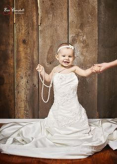 1 year birthday photography in mom's Wedding Dress! could do that every year on her birthday! Baby In Wedding Dress, Wedding Dress Pictures, Wedding Dresses For Girls, Baby Girl Dresses, Baby Dress, Wedding Photos, Wedding Ideas, Wedding Stuff, Wedding Inspiration