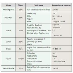 A healthy meal plan for toddlers