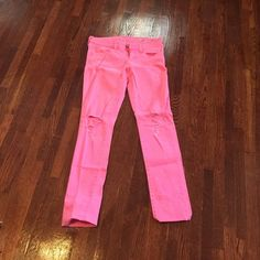 Pink Skinny Jeans Bright pink skinny jeans! Perfect for making a statement! Size 3 Jeans Skinny