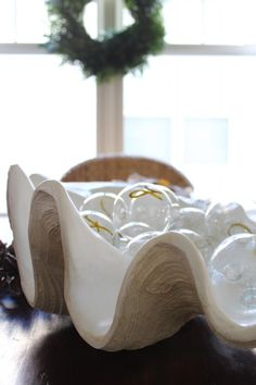 Shell filled with ornaments, simple Christmas decor