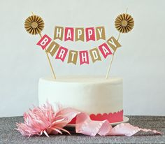 Mini Banner or Cake Bunting, Happy Birthday in Metallic Gold and Bright Pink