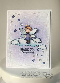 Inspiration for Lawn Fawn Fairy Friends; Thank you fairy much; DIB; lavender; cloud dies; stars; thanks; cute; sweet