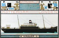 1916 - Leck, Bart van der - Affiche Batavier-lijn Rotterdam-Londen – Kröller-Müller Museum
