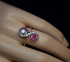 Vintage diamond and ruby engagement ring - unusual and unique engagement ring