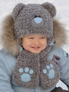 SALE OFF 15% Baby Boys Hats Ear hat Kids Hats Kids Fall Teddy Bear Hat Knit Bear Beanie Animal Hat Warm hat Winter hat Fashion Set hat scarf (25.45 USD) by MeetBestKnit