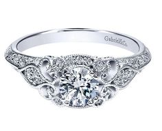 Victorian vintage diamond engagement ring. White gold. Gabriel ER11865R0W44JJ #seneedhamjewelers #loganutah