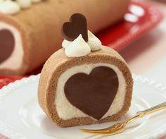 Heart roll cake