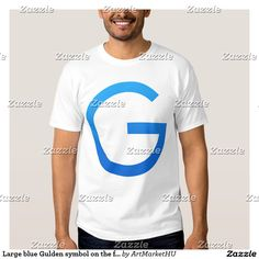 Large blue Gulden symbol on the front side T Shirt. This blue design is available on many coloured T-shirts of different style for men and women – Design by Andras Balogh – andras.design