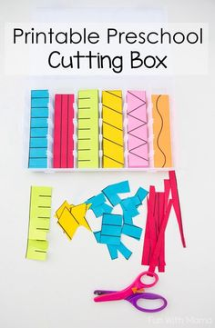 Printable Preschool Cutting Box, Fine Motor Activities, Cutting Lessons, Preschool Lesson Ideas, How to Teach Kids to Cut, How to Cut with Scissors