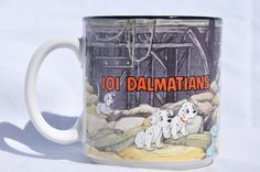 SOLD.. Walt Disney's 101 Dalmatians Mug, Barn Scene, Black Interior