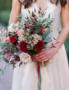 romantic red bouquet with greenery