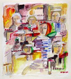 Título: Estudio para la Ciudad de la Alegría  No. 3 Autor: Alvaro Galindo Vácha   Dimensiones: 27 x 21 cm   Técnica: Acrílico sobre papel   Año: 2001