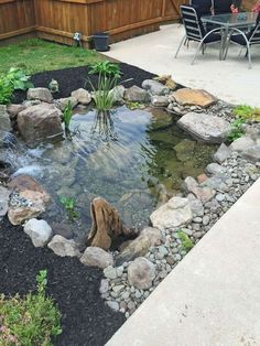 small backyard landscaping ideas with rocks & pool on a budget 13 Backyard Water Feature, Ponds Backyard, Backyard Patio, Backyard Ideas, Diy Patio, Patio Ideas, Garden Ponds, Small Garden Landscape, Landscape Design