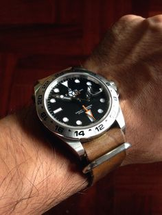 Rolex Explorer II on DIY palish green/brown leather nato