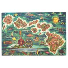 #personalize - #Dole 1950 Map of Hawaii Joseph Feher Oil Paint Metal Photo Print