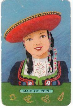 vintage SWAP CARDs Coles lady of peru