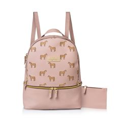 School bag, leather backpack, horse bag, pink bag  This handmade leather backpack is Perfect for daily use . Designed with a roomy interior, and can contains : Ipad, books ,and magazines. With its multiple zipper pockets and delicate shoulder straps, it's a feminine take on an enduring design. comfortable and chic at the same time. The unique Horse pattern on the bag is what makes my designs stylish ,special and one of a kinds. Removable mini wallet is attached to the bag (inside) for your…