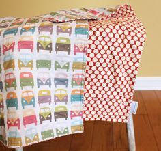 VW Bus QUILT by PETUNIAS van red baby blanket photo prop nursery decor bedding sweet colorful happy kids toddler. $81.00, via Etsy.