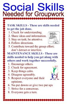 This free poster defines the skills that are necessary to complete group work. Both the task skills and the social skills are listed. The sign reminds students of the importance of respect and that a positive attitude is essential when working together. Social Skills Autism, Social Skills Activities, Teaching Social Skills, Social Emotional Learning, Drama Teaching, Leadership Activities, Articulation Activities, Group Activities, Therapy Activities