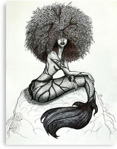Goddess of the Sea is a part of my Mermaid Series # Untamed. She is my depiction of a mermaid based on the stories I was told as a child of the beautiful mermaids that lived in the blues holes of The Bahamas. Afro Tattoo, Body Art Tattoos, Girl Tattoos, Ocean Sleeve Tattoos, Leg Tattoos Women, Black Love Art, Black Girl Art, Art Girl, Mermaid Drawings