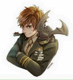 Captain Henrik Haddock III and his pet dragon Toothless of the United States Army. (Or Norwegian Army whichever works for you) Httyd, Hiccup And Toothless, Hiccup And Astrid, Dragons Dreamworks, Disney And Dreamworks, How To Train Dragon, How To Train Your, Fanart, Film Anime
