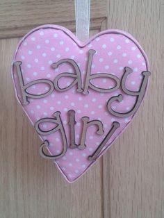 Baby girl pink fabric hanging heart, baby shower, new baby keepsake gift. girls nursery decor, door plaque, photo prop by AlphabetCraft on Etsy