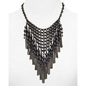 """AQUA Rox Cage Fringe Necklace, 16"""" Of-the-moment statement fringe makes for an exotic, evening-worthy look with this attention-grabbing AQUA necklace. Gunmetal-tone or gold-tone plated metal/resin Imported 16""""L with 3"""" extension Lobster clasp closure 6"""" frontal drop Photo may have been enlarged and/or enhanced"""