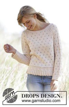 "Knitted DROPS jumper with a small cable edge, lace pattern and raglan in ""Baby Merino"" or"
